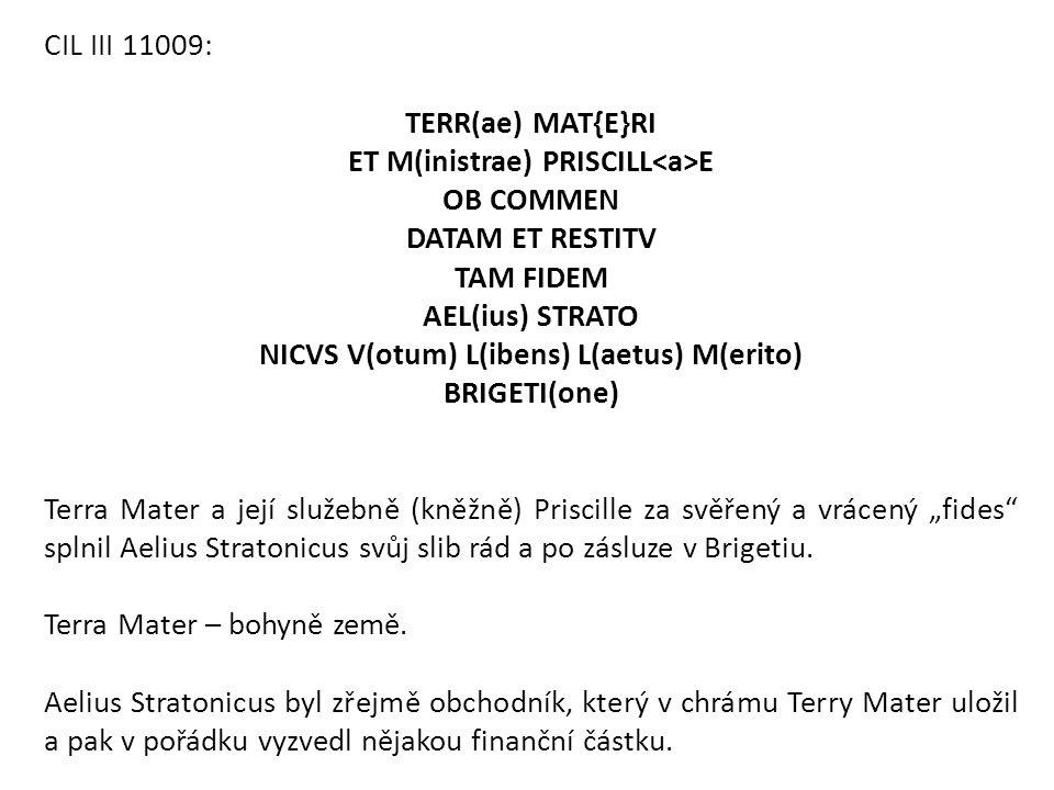 NICVS V(otum) L(ibens) L(aetus) M(erito)