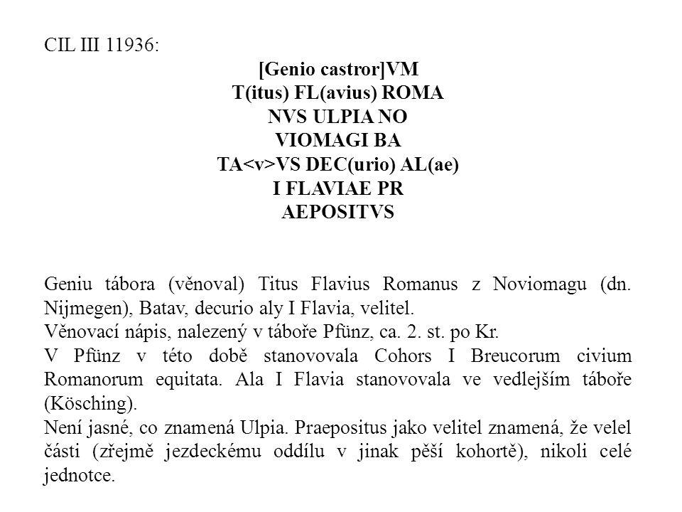 T(itus) FL(avius) ROMA TA<v>VS DEC(urio) AL(ae)