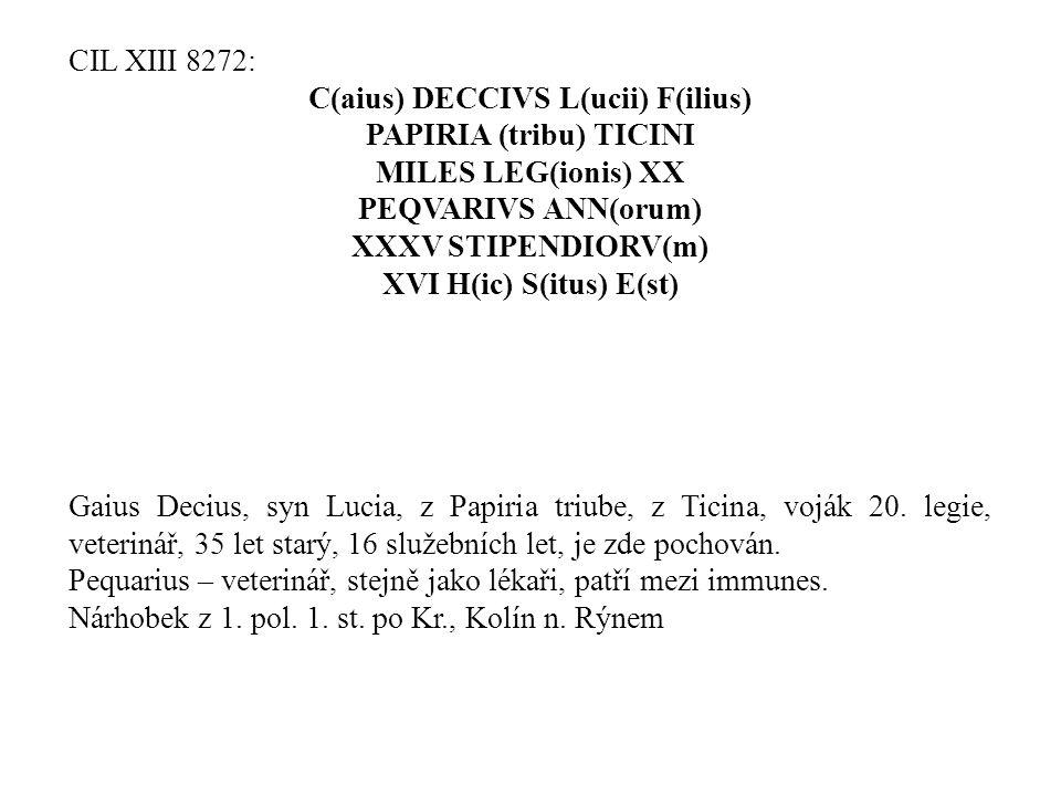 C(aius) DECCIVS L(ucii) F(ilius) PAPIRIA (tribu) TICINI