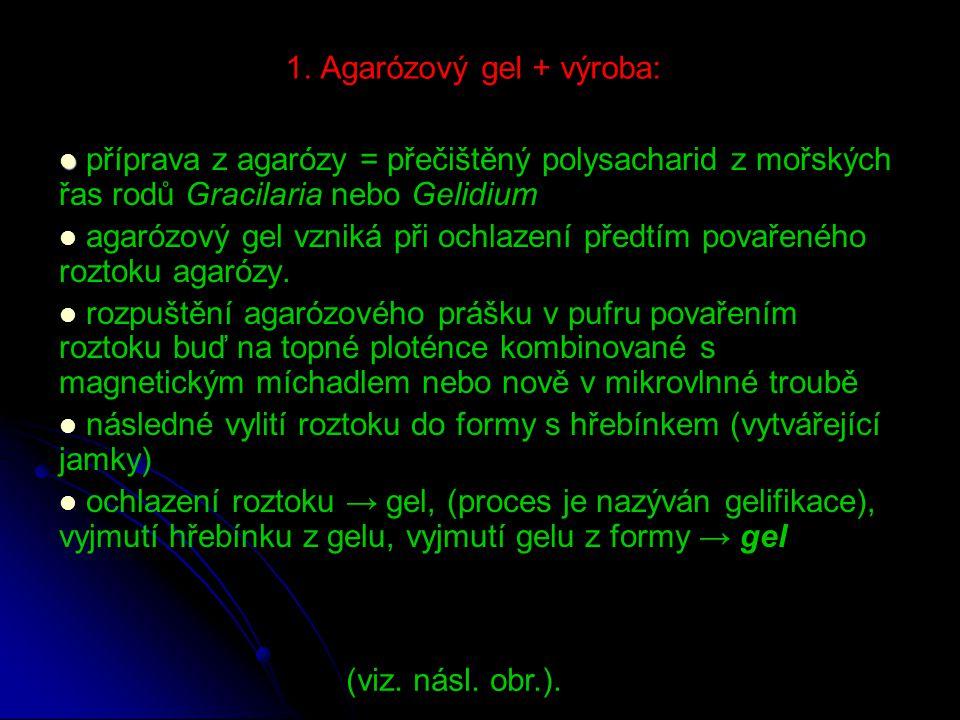 1. Agarózový gel + výroba: