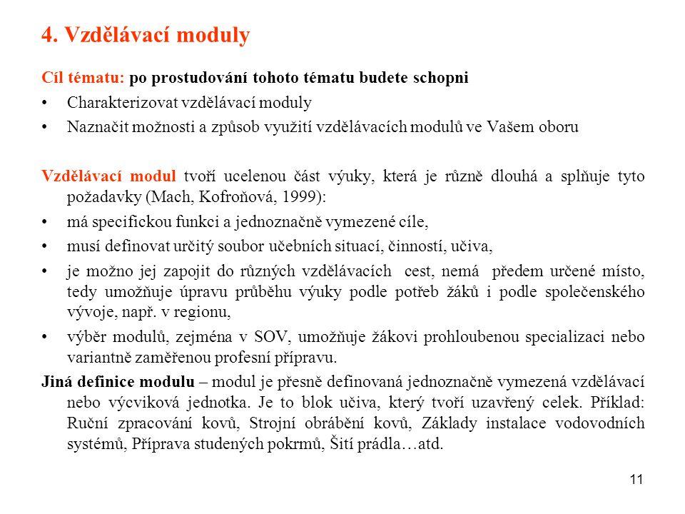 4. Vzdělávací moduly Cíl tématu: po prostudování tohoto tématu budete schopni. Charakterizovat vzdělávací moduly.