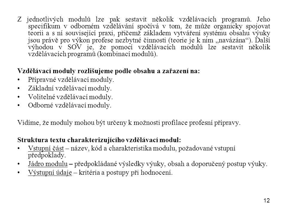 Z jednotlivých modulů lze pak sestavit několik vzdělávacích programů