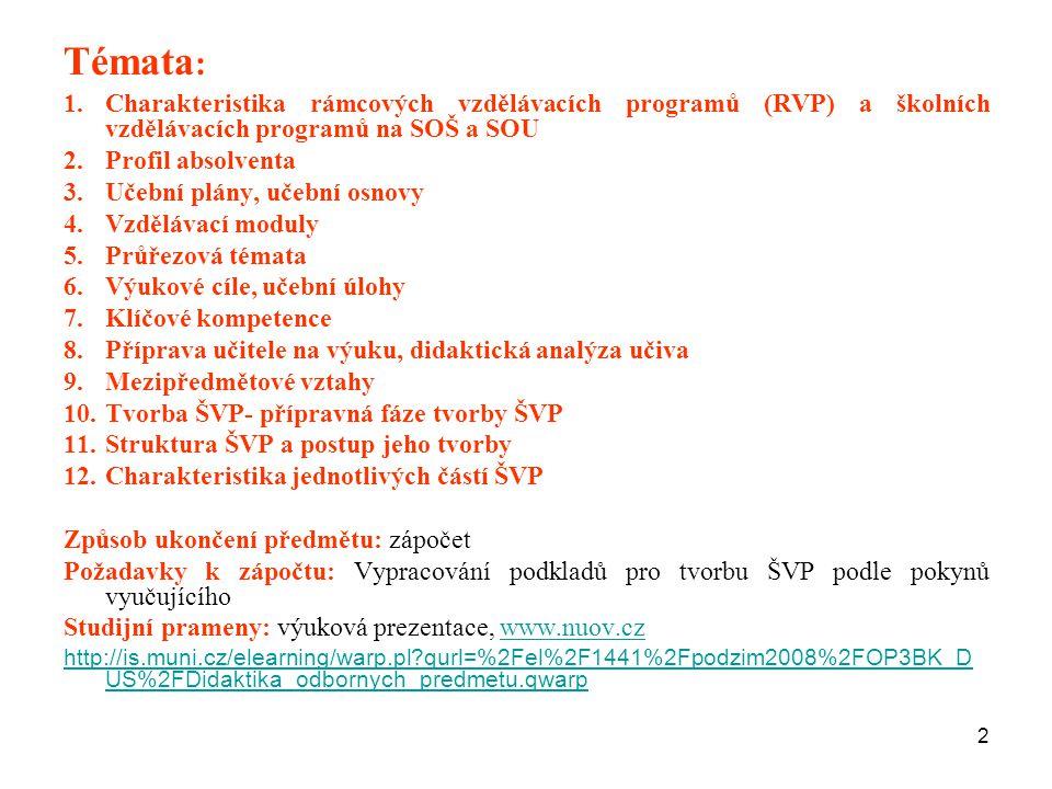 Témata: Charakteristika rámcových vzdělávacích programů (RVP) a školních vzdělávacích programů na SOŠ a SOU.