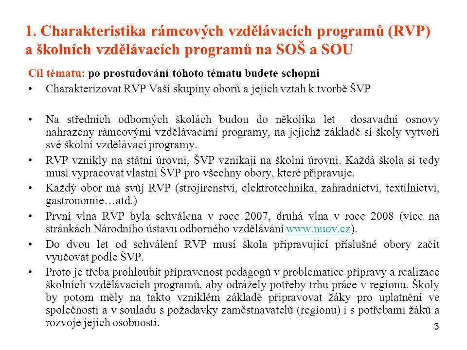1. Charakteristika rámcových vzdělávacích programů (RVP) a školních vzdělávacích programů na SOŠ a SOU