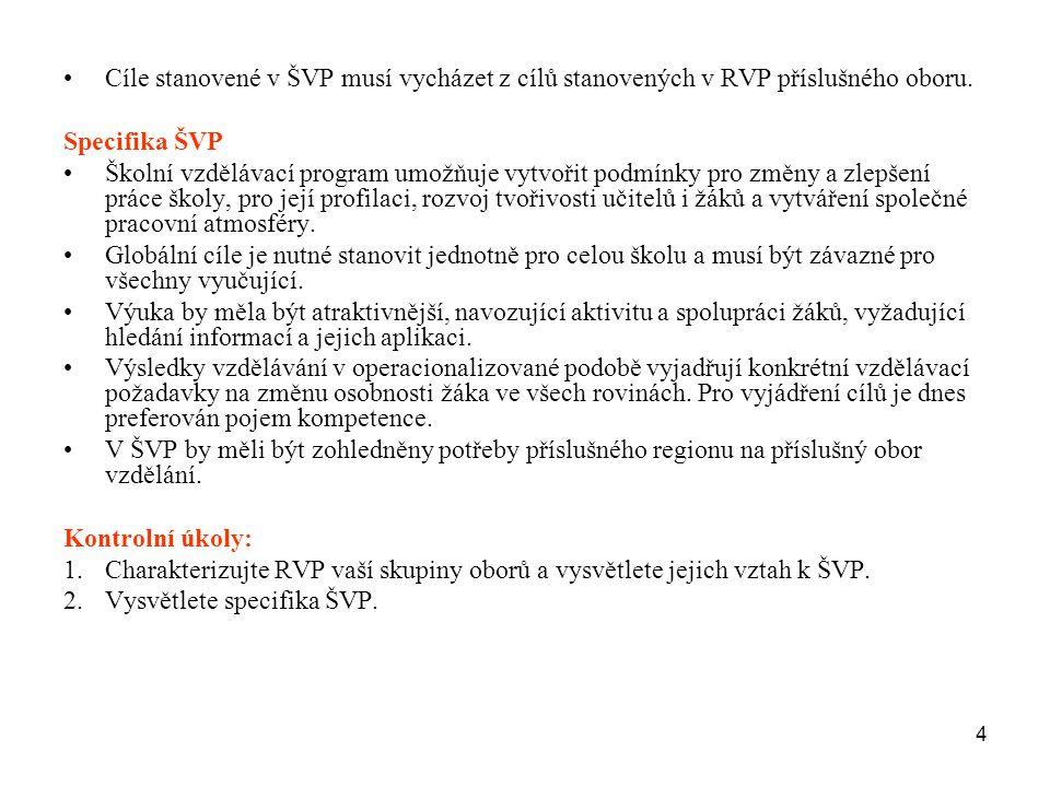 Cíle stanovené v ŠVP musí vycházet z cílů stanovených v RVP příslušného oboru.