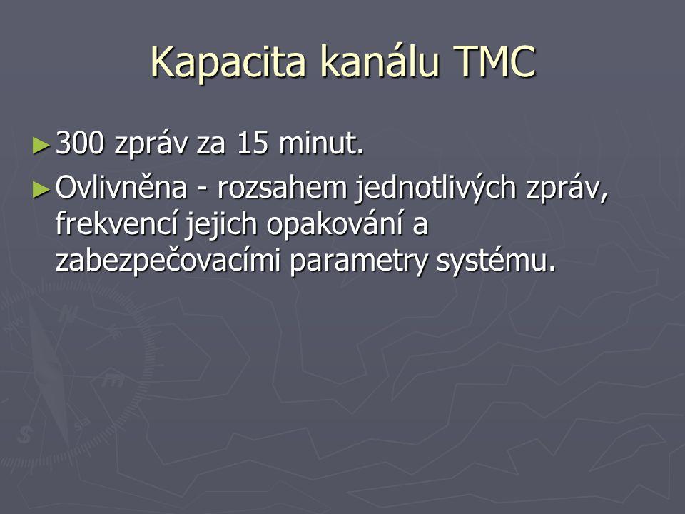 Kapacita kanálu TMC 300 zpráv za 15 minut.