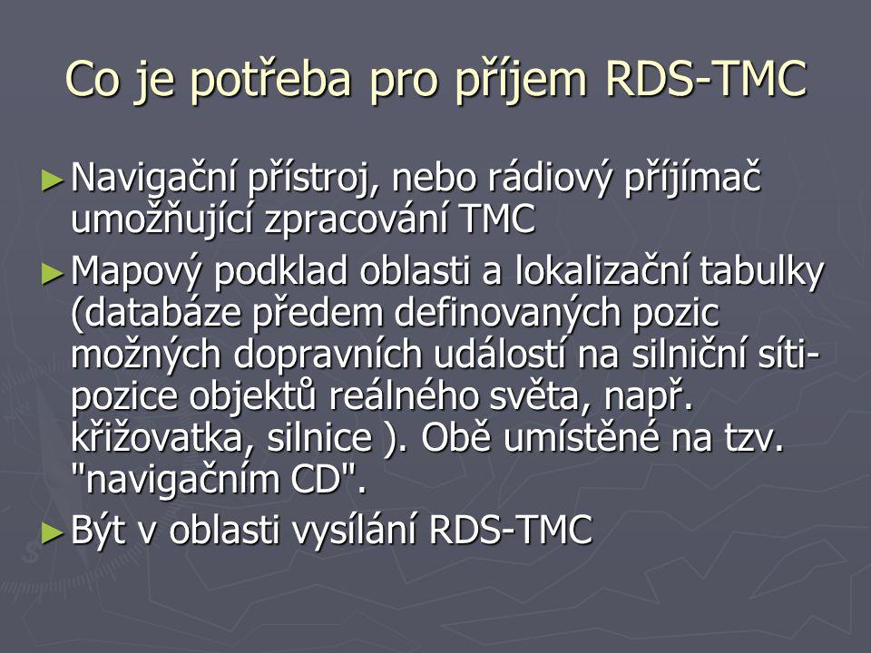 Co je potřeba pro příjem RDS-TMC