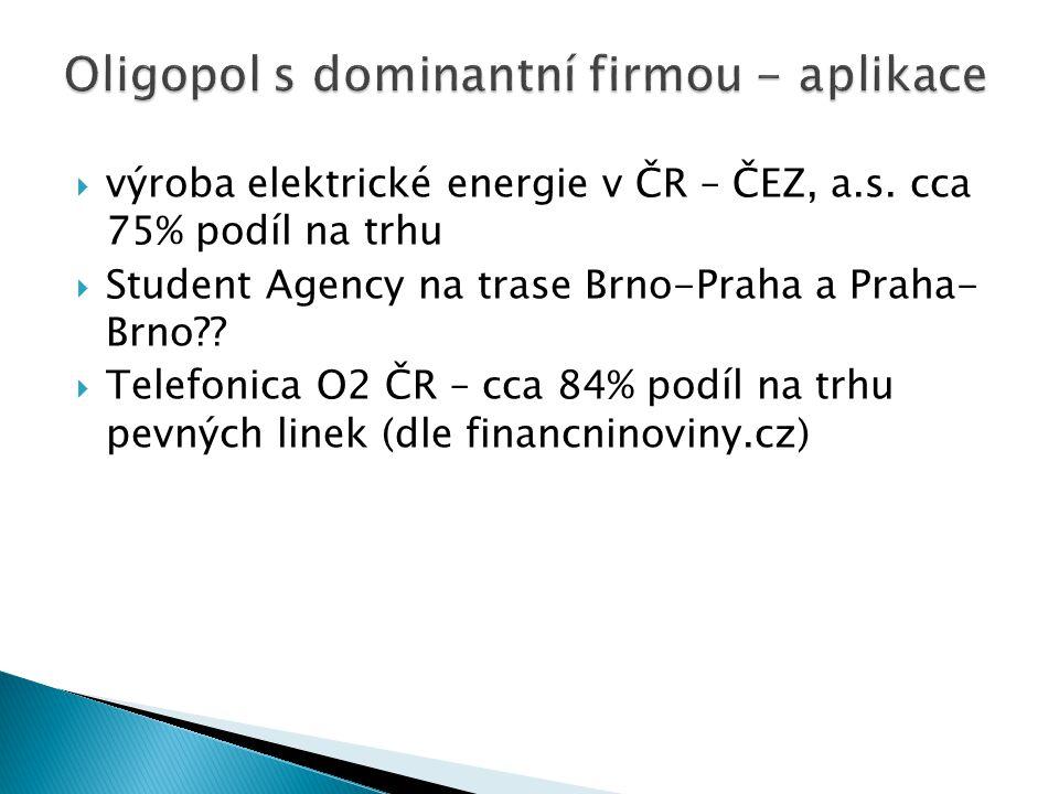 Oligopol s dominantní firmou - aplikace
