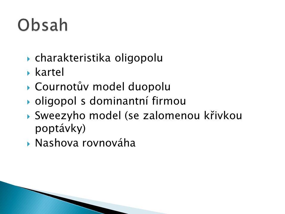 Obsah charakteristika oligopolu kartel Cournotův model duopolu