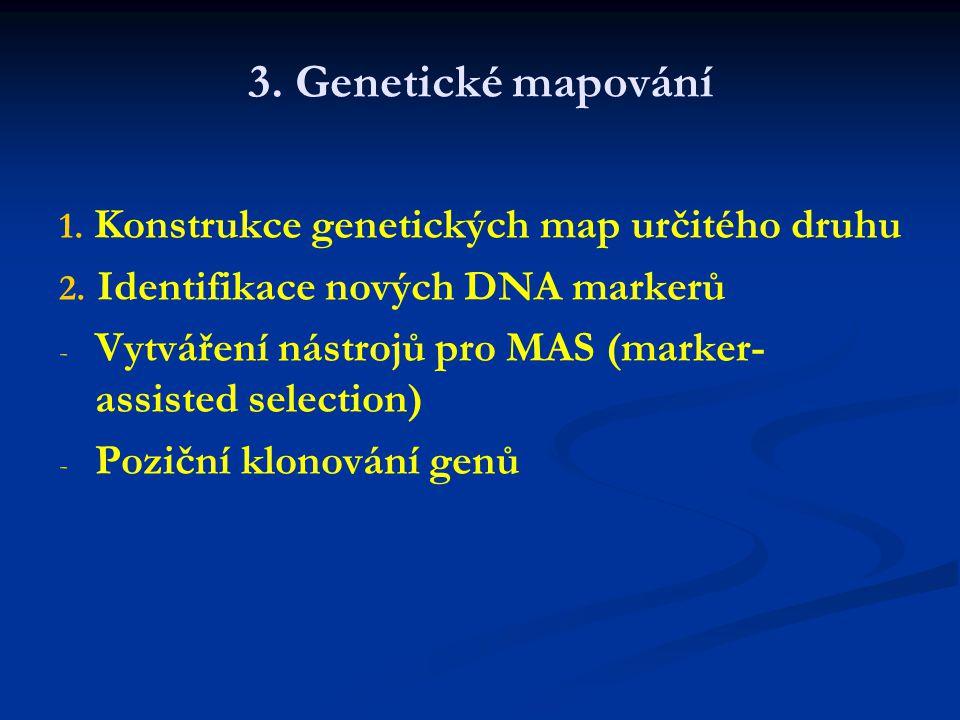 3. Genetické mapování 1. Konstrukce genetických map určitého druhu. 2. Identifikace nových DNA markerů.