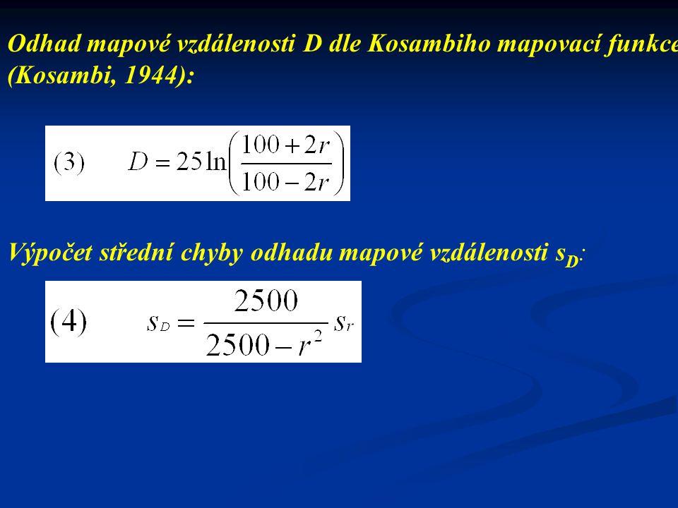 Odhad mapové vzdálenosti D dle Kosambiho mapovací funkce