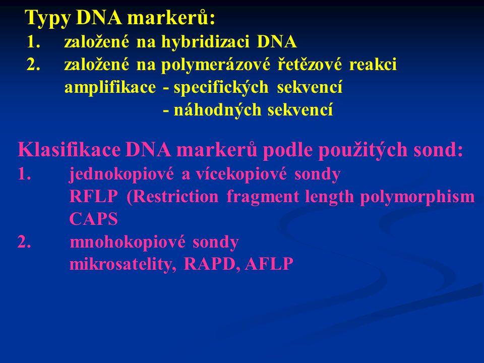Klasifikace DNA markerů podle použitých sond: