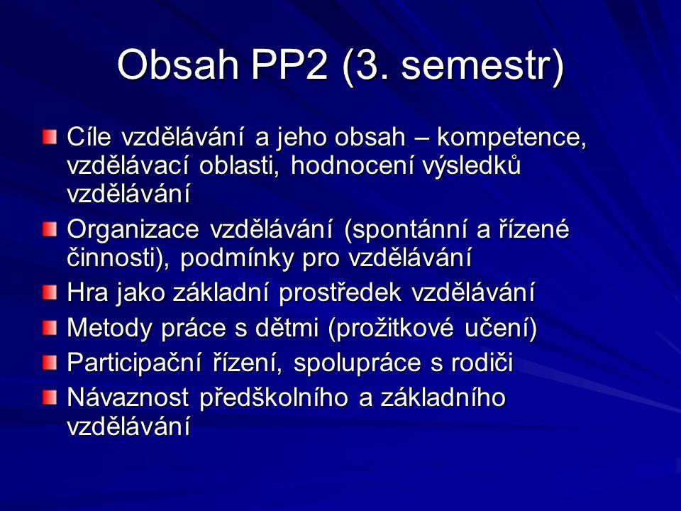 Obsah PP2 (3. semestr) Cíle vzdělávání a jeho obsah – kompetence, vzdělávací oblasti, hodnocení výsledků vzdělávání.
