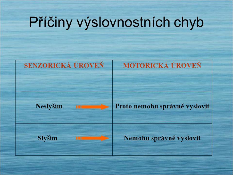 Příčiny výslovnostních chyb