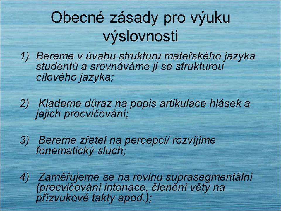Obecné zásady pro výuku výslovnosti