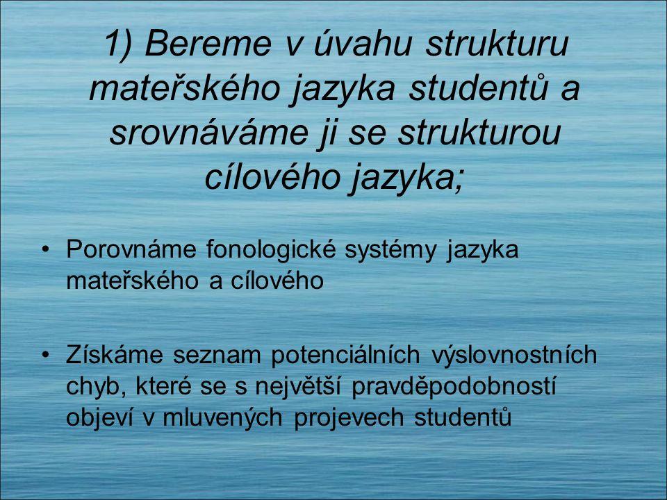 1) Bereme v úvahu strukturu mateřského jazyka studentů a srovnáváme ji se strukturou cílového jazyka;