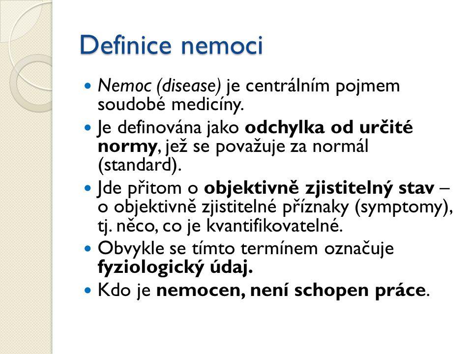 Definice nemoci Nemoc (disease) je centrálním pojmem soudobé medicíny.