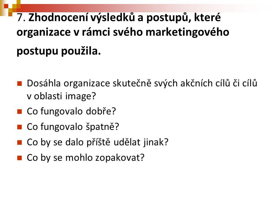 7. Zhodnocení výsledků a postupů, které organizace v rámci svého marketingového postupu použila.