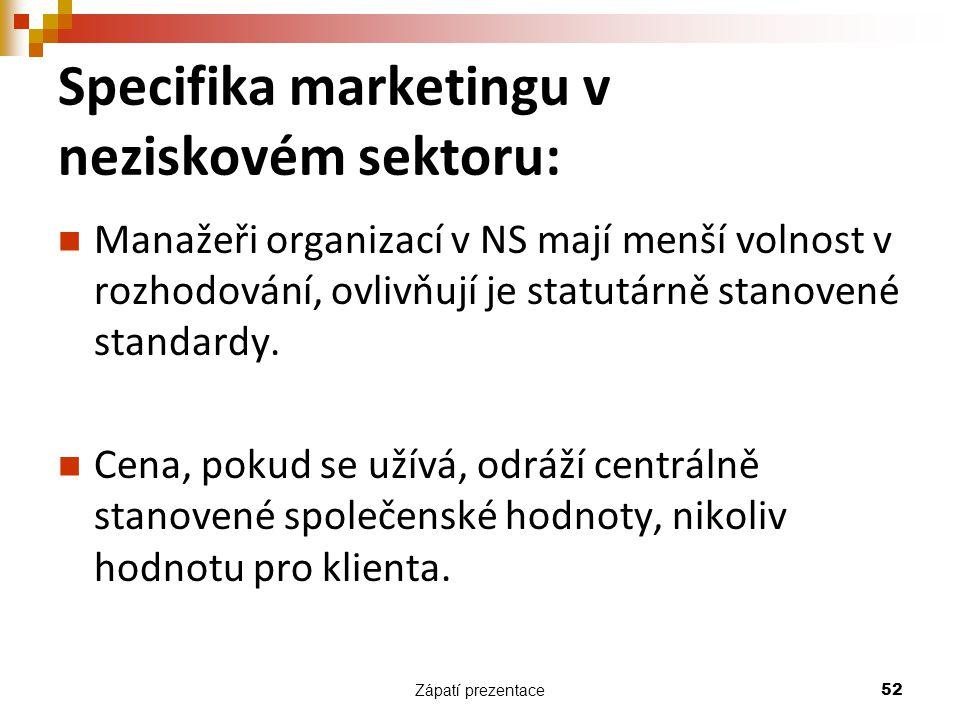 Specifika marketingu v neziskovém sektoru: