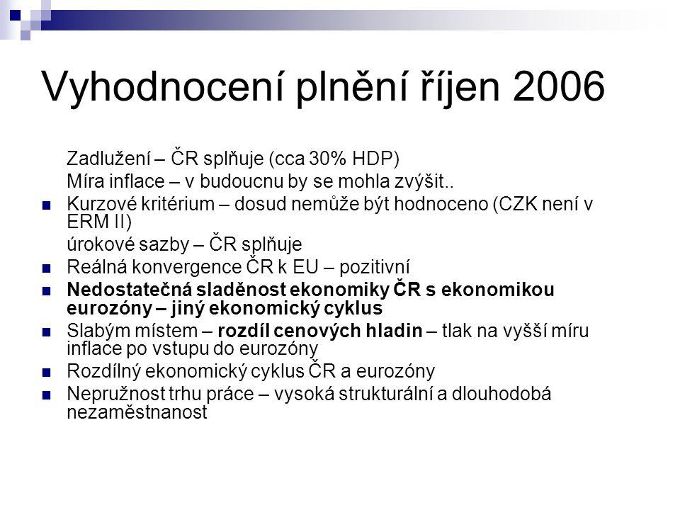 Vyhodnocení plnění říjen 2006