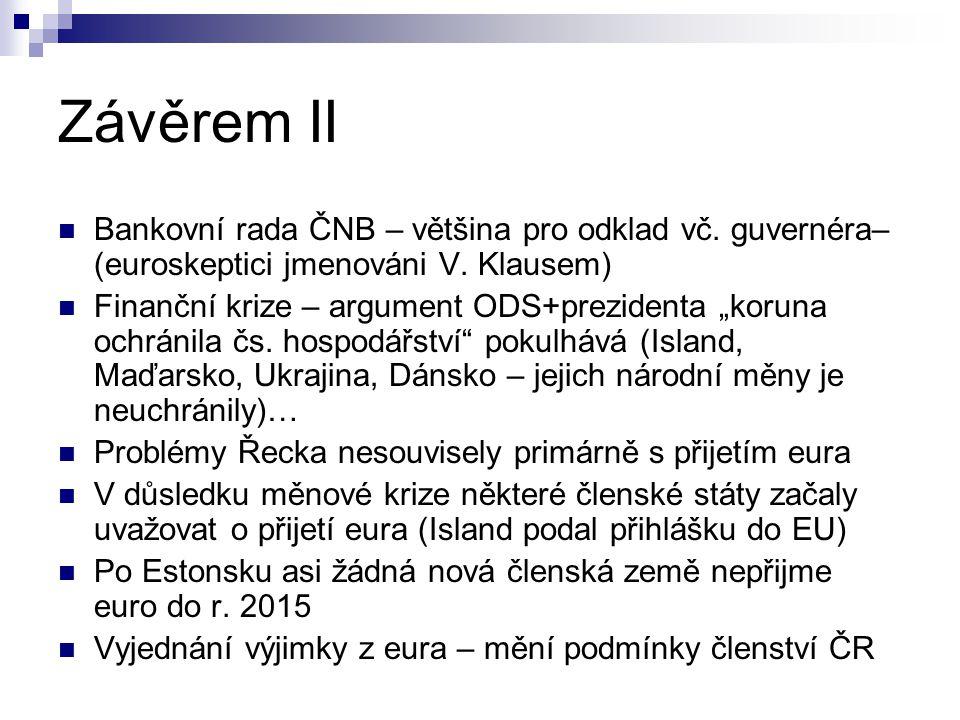 Závěrem II Bankovní rada ČNB – většina pro odklad vč. guvernéra– (euroskeptici jmenováni V. Klausem)