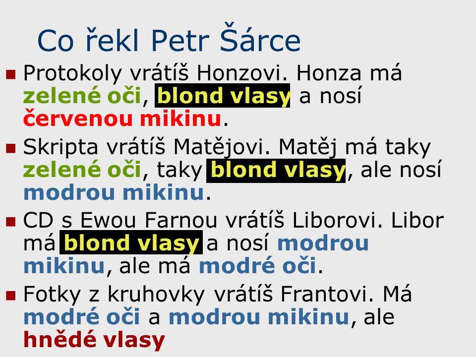 Co řekl Petr Šárce Protokoly vrátíš Honzovi. Honza má zelené oči, blond vlasy a nosí červenou mikinu.