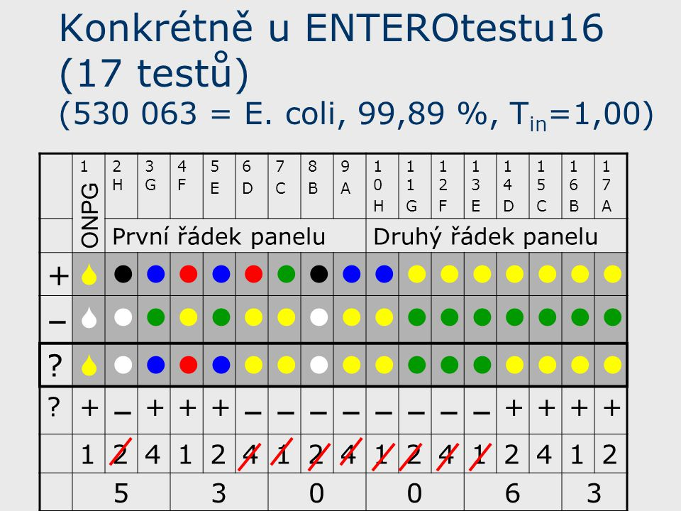 Konkrétně u ENTEROtestu16 (17 testů) (530 063 = E