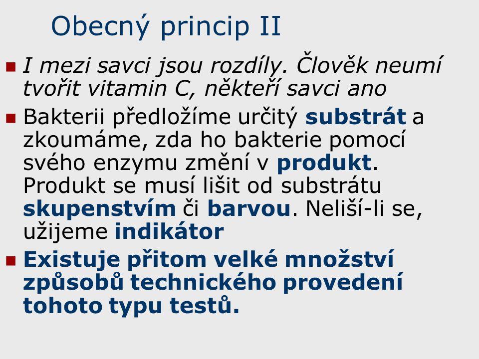 Obecný princip II I mezi savci jsou rozdíly. Člověk neumí tvořit vitamin C, někteří savci ano.