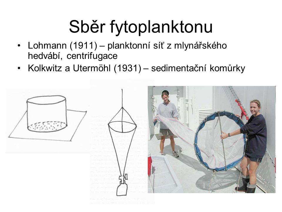 Sběr fytoplanktonu Lohmann (1911) – planktonní síť z mlynářského hedvábí, centrifugace.