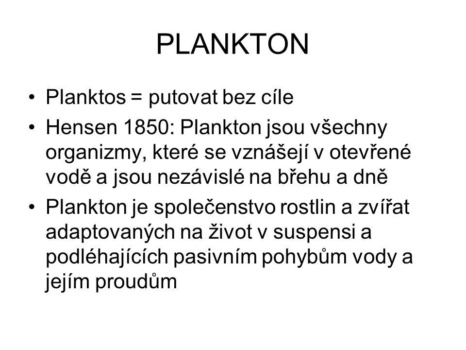 PLANKTON Planktos = putovat bez cíle