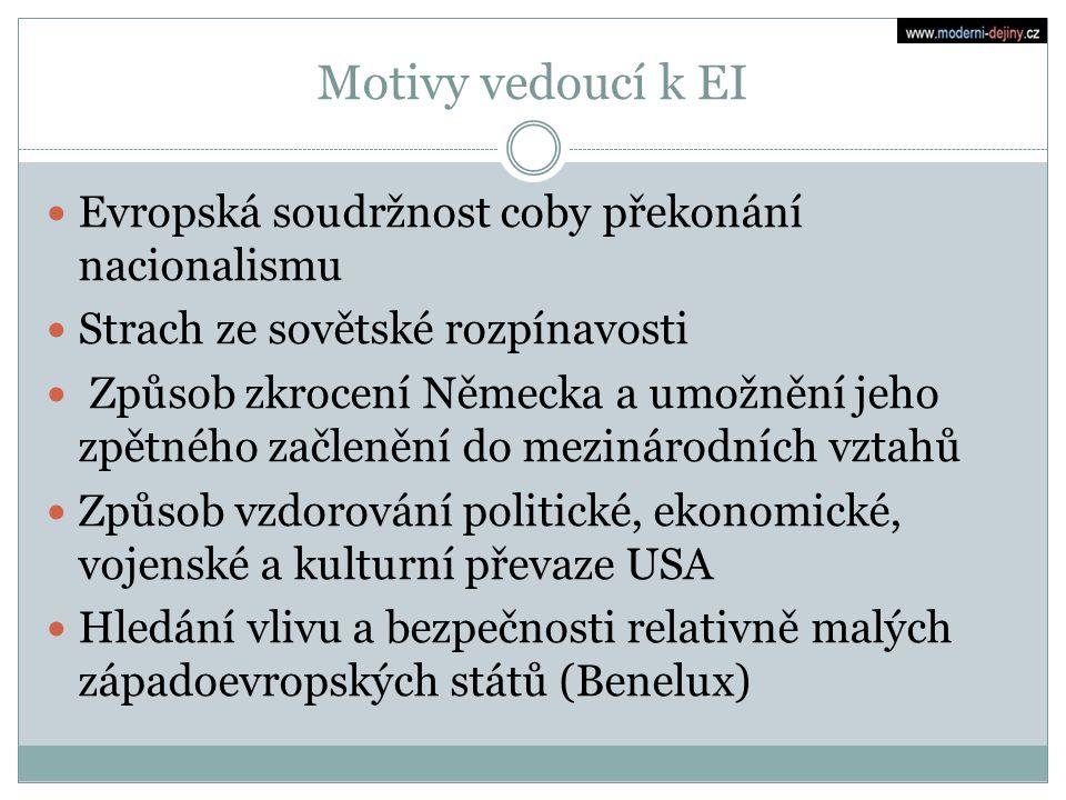 Motivy vedoucí k EI Evropská soudržnost coby překonání nacionalismu