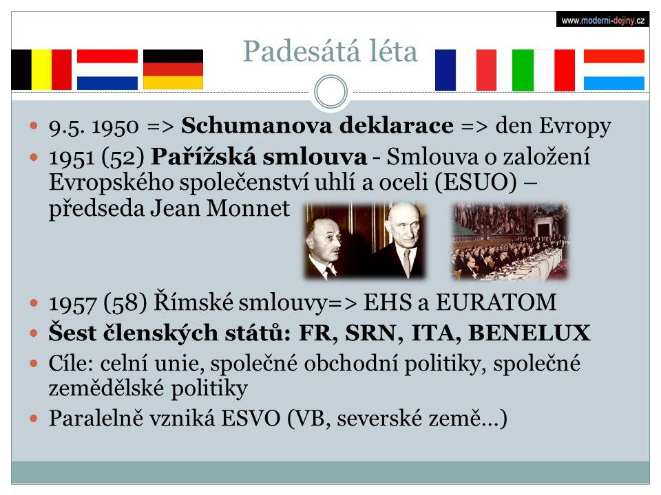Padesátá léta 9.5. 1950 => Schumanova deklarace => den Evropy.
