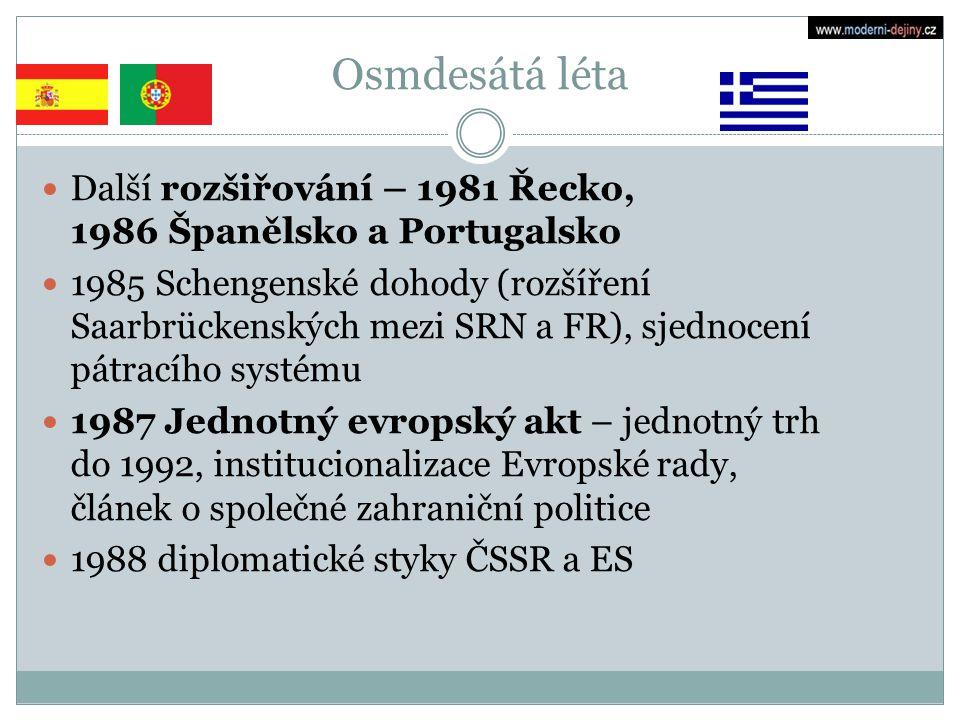 Osmdesátá léta Další rozšiřování – 1981 Řecko, 1986 Španělsko a Portugalsko.