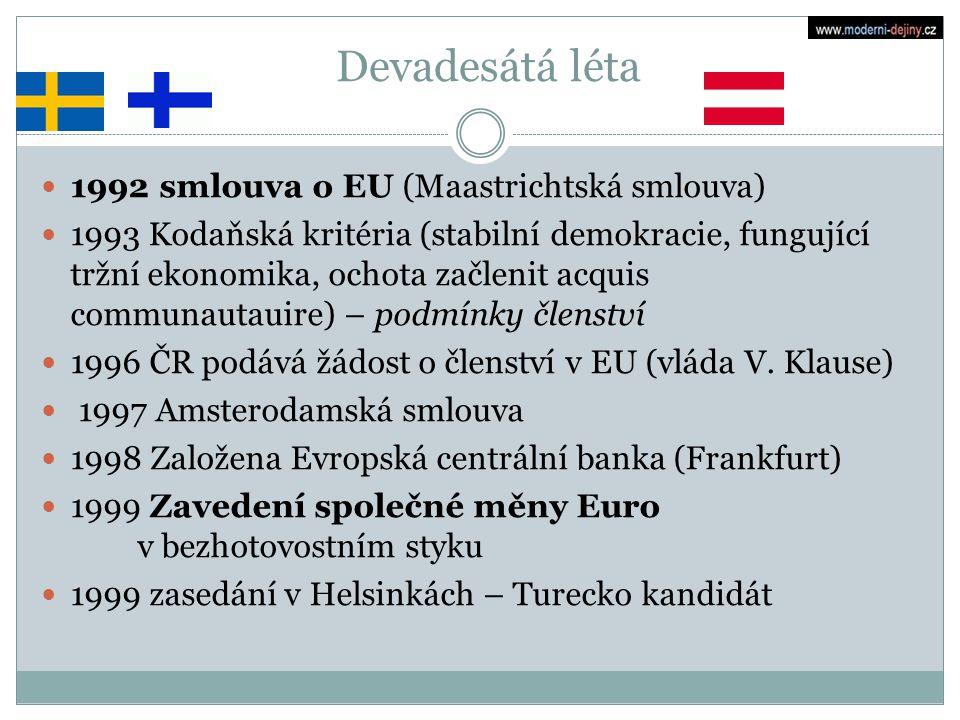 Devadesátá léta 1992 smlouva o EU (Maastrichtská smlouva)