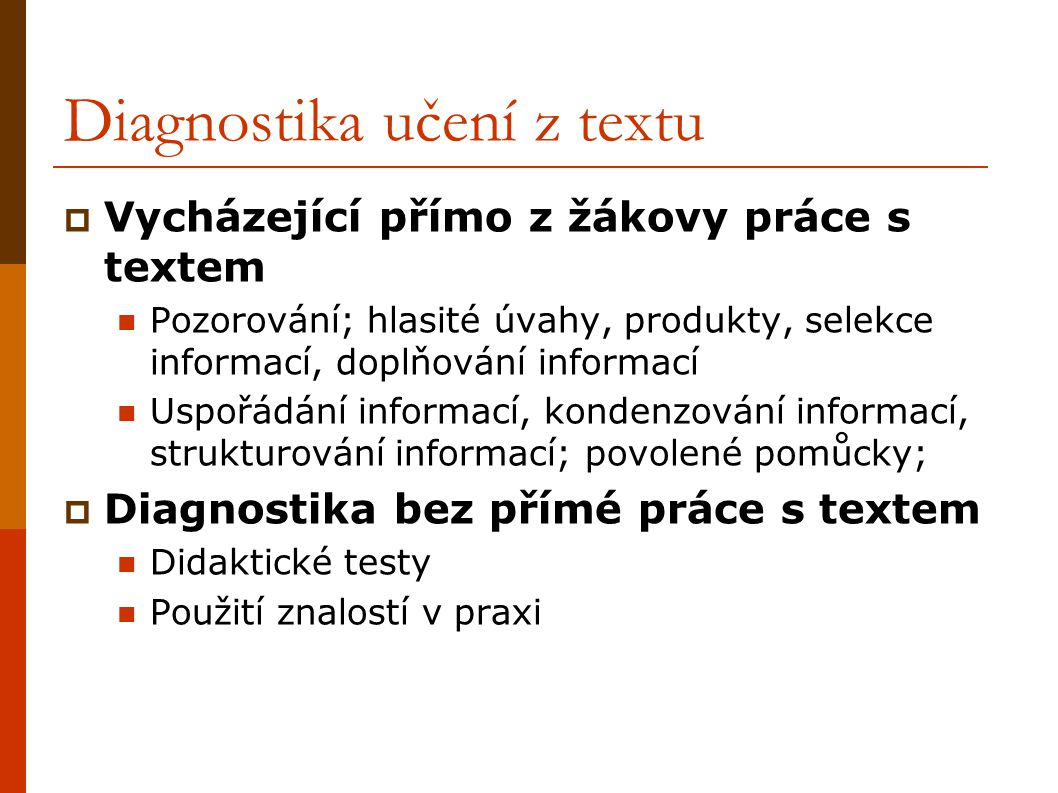 Diagnostika učení z textu