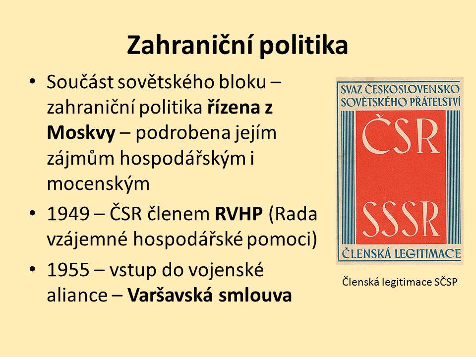 Zahraniční politika Součást sovětského bloku – zahraniční politika řízena z Moskvy – podrobena jejím zájmům hospodářským i mocenským.