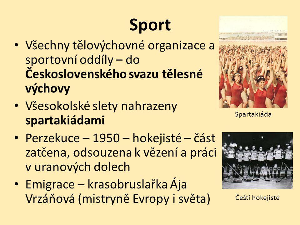 Sport Všechny tělovýchovné organizace a sportovní oddíly – do Československého svazu tělesné výchovy.