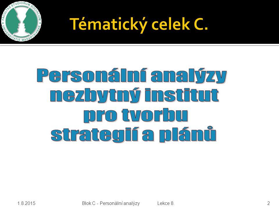 Tématický celek C. Personální analýzy nezbytný institut pro tvorbu