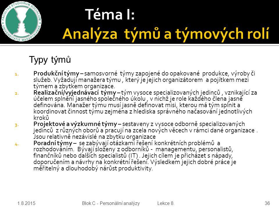 Téma I: Analýza týmů a týmových rolí