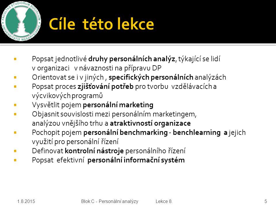 Cíle této lekce Popsat jednotlivé druhy personálních analýz, týkající se lidí v organizaci v návaznosti na přípravu DP.