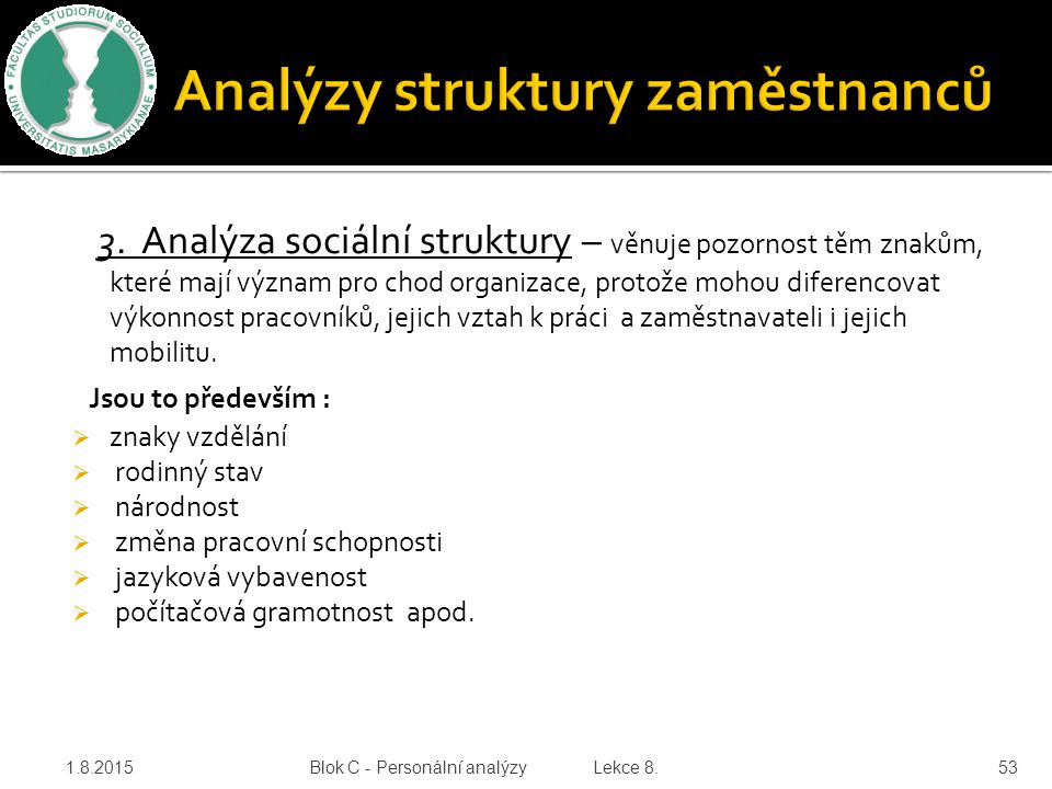 Analýzy struktury zaměstnanců
