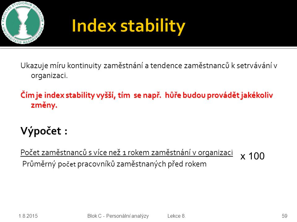 Index stability Výpočet :