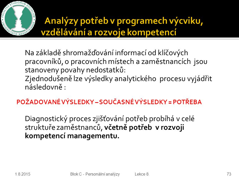Analýzy potřeb v programech výcviku, vzdělávání a rozvoje kompetencí