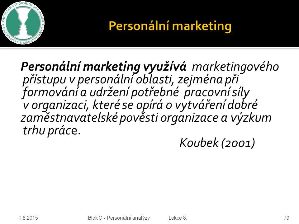 zaměstnavatelské pověsti organizace a výzkum trhu práce. Koubek (2001)