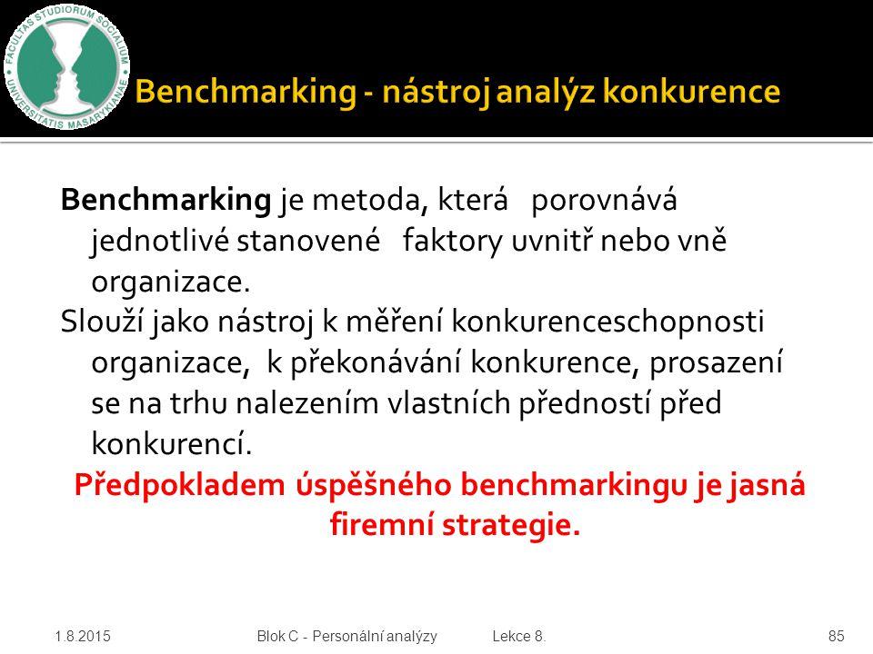 Benchmarking - nástroj analýz konkurence