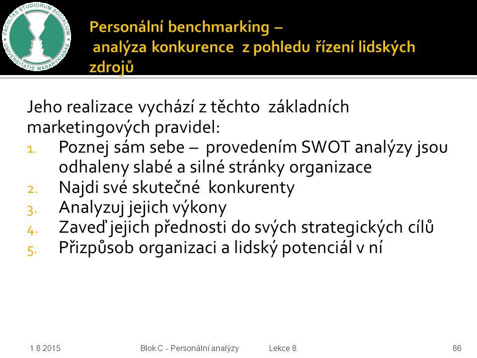Jeho realizace vychází z těchto základních marketingových pravidel: