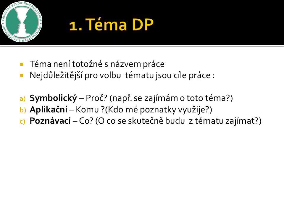 1. Téma DP Téma není totožné s názvem práce