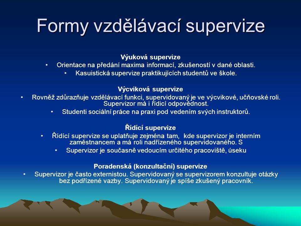 Formy vzdělávací supervize