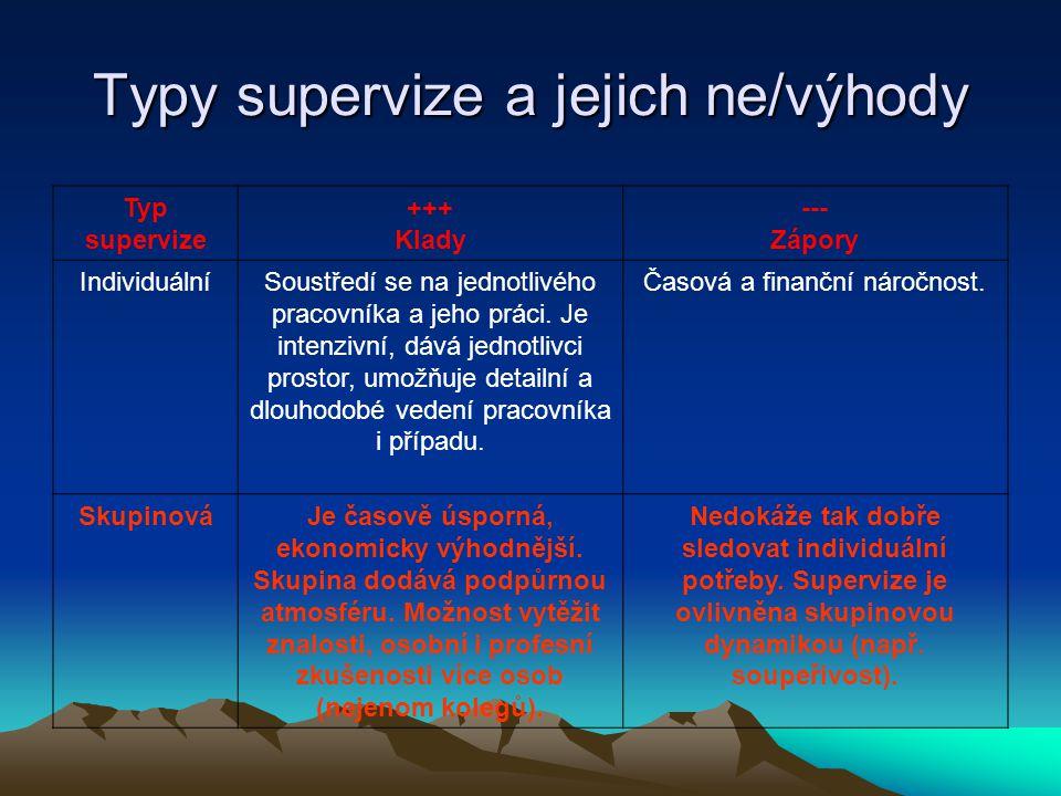Typy supervize a jejich ne/výhody