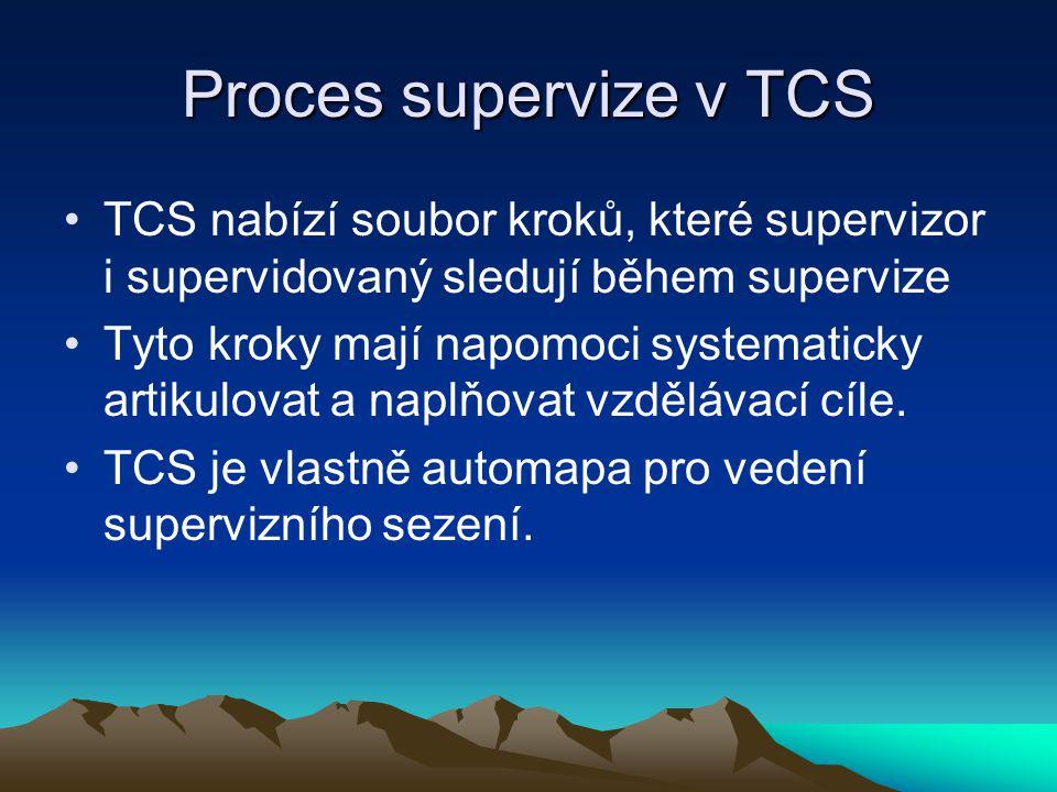 Proces supervize v TCS TCS nabízí soubor kroků, které supervizor i supervidovaný sledují během supervize.